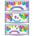 Banners with colorful balloons and ribbons vector image vector image