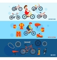 Bicycle accessories flat banners set vector image vector image