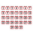 calendar day icon set number on calendar page vector image vector image
