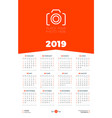 calendar design template for 2019 year week vector image vector image