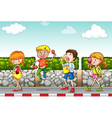 Children eating and drinking on the sidewalk vector image vector image