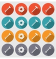 Cogwheel hammer wrench key icons set Repair fix vector image
