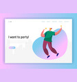 corporate party landing page template happy man vector image vector image