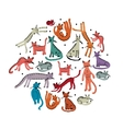 Cute cats childish style Sketch for your design vector image vector image