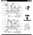 differences educational game with ape in a bath vector image