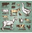 Farm animals vintage set vector | Price: 1 Credit (USD $1)