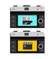 film camera and clapper board on back side of vector image vector image
