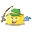 fishing butter mascot cartoon style vector image vector image