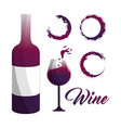 glass and bottle of wine with bubbles icon vector image vector image
