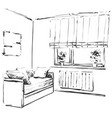 hand drawn sketch of modern living room interior vector image vector image