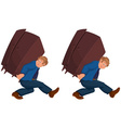 Happy cartoon man walking with heavy furniture vector image vector image