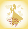happy womens day card-silhouette girl yellow vector image vector image