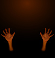 Human hand on dark brown background vector image