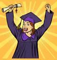 joyful woman graduate victorious gesture hands up vector image vector image