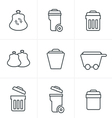 Line Icons Style Garbage Icons vector image vector image