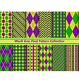 Mardi Gras pixel seamless pattern set vector image