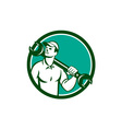 Mechanic Spanner Wrench Looking Up Retro vector image vector image