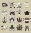 modern professional pirate logo marine badges vector image