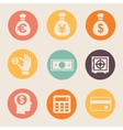 Money and coin icon set vector image vector image