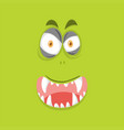 monster face on lime green background vector image