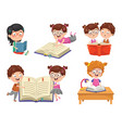 of reading book vector image vector image