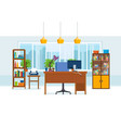 office interior of room with working furniture vector image vector image