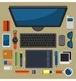 Office Workplace Top View in Flat Design vector image vector image