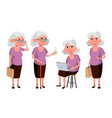 old woman poses set elderly people senior vector image vector image