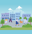 people walking in street city different vector image