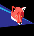 portrait graphics of a red fox on a dark vector image vector image