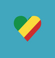 republic of the congo flag icon in a heart shape vector image vector image