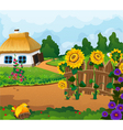 Rural landscape with a small house vector image vector image
