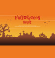 scenery silhouette tree grave for halloween vector image vector image