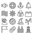sea sailing icons set on white background line vector image vector image