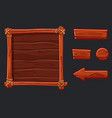 set red wood assets interface and buttons for ui vector image