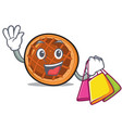 shopping baket pie character cartoon vector image