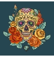 skull and flowers day the dead vector image vector image