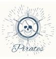skull pirate and vintage sun burst frame vector image vector image