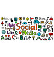 social media hand drawn icon set sketch like vector image vector image