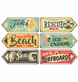 summer signs vintage collection vector image vector image