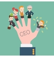 The hand with the CEO inscription vector image