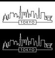 tokyo skyline linear style editable file vector image vector image