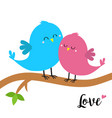 two birds sitting on tree branch word love vector image