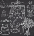 Wedding day elements Hand drawn set with flowers vector image vector image