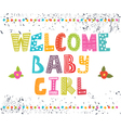 Welcome baby girl Baby girl arrival postcard Baby vector image vector image