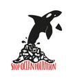 with orca jumping from polluted trash water vector image vector image