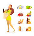 young girl in green dress with paper food vector image