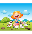 A happy lady with her pets vector image vector image