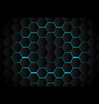 abstract black hexagon pattern on light blue vector image vector image