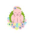 adorable newborn baby girl in flower headband vector image vector image